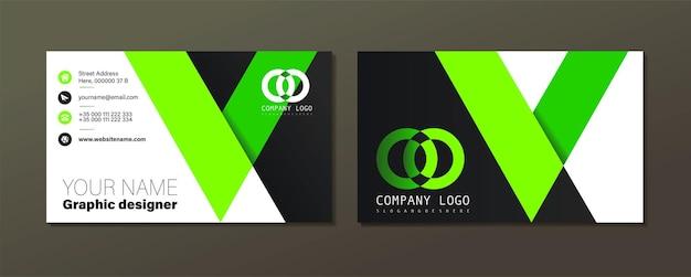 Зеленый волнистый вектор шаблон визитной карточки