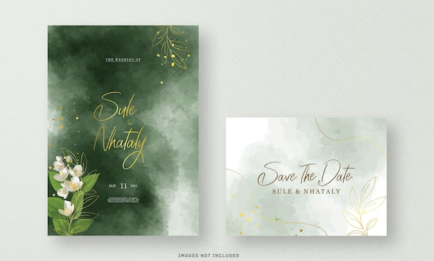 The green wedding invitation card with flower watercolor