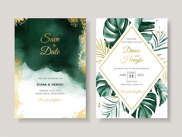 緑の結婚式の招待カード