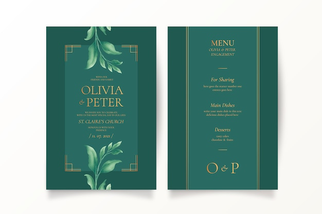 Green wedding invitation and menu template