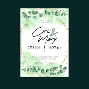 Green wedding invitation template