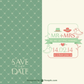 Green wedding invitation with little birds