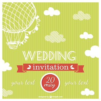 Green wedding invitation with sketched hot air balloon
