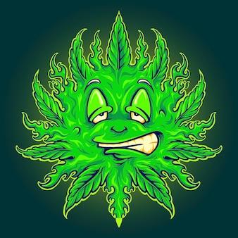 작업 로고, 마스코트 상품 티셔츠, 스티커 및 라벨 디자인, 포스터, 인사말 카드 광고 비즈니스 회사 또는 브랜드를 위한 green weed emoji sun mascot 벡터 삽화.