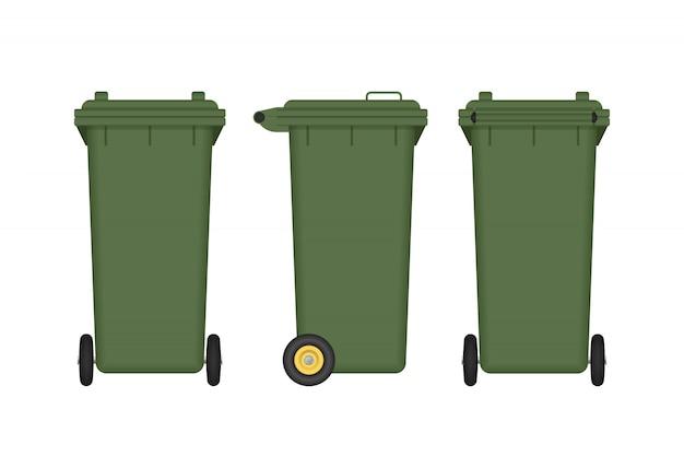 Зеленый мусорный бак на белом фоне