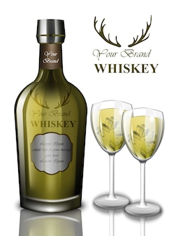 グリーンウイスキーカクテルはモックアップデザイン。製品包装、ラベルボトル。テキストのための場所