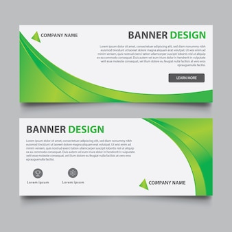 Green and white banner template