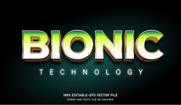 Green white bionic technology text effect and editable fonts