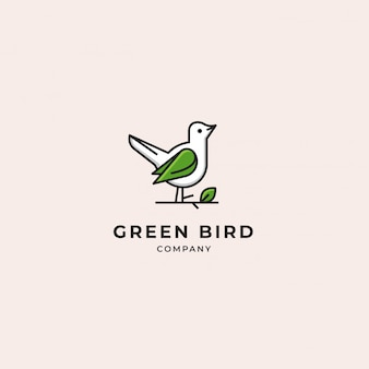 Green and white bird modern logo with twig and leaf