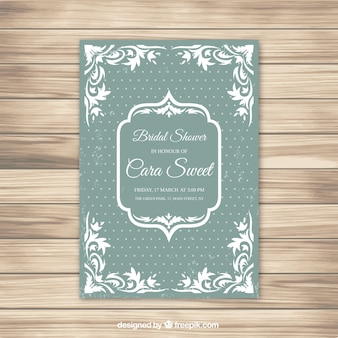 Green and white bridal shower invitation with dot background