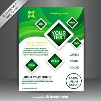Green and white brochure template