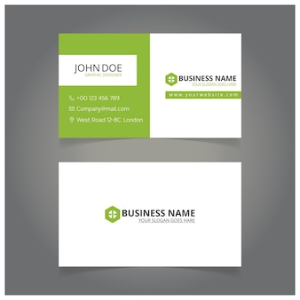Green and white business card