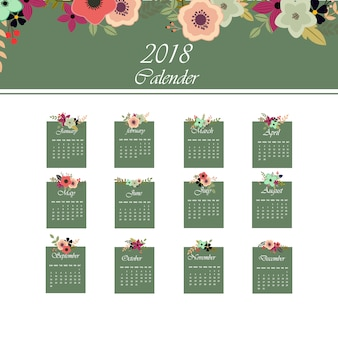 Green and white calendar 2018 with floral design