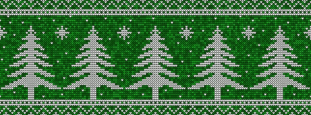 Green and white christmas seamless pattern background with pine trees and snowflakes