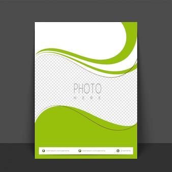 Verde e colori bianchi design flyer, template o banner con spazio per la tua immagine.