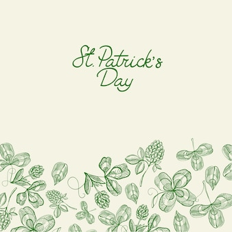 Green and white decorative design greeting card doodle hand drawn with lettering about st. patricks day and hop branches vector illustration