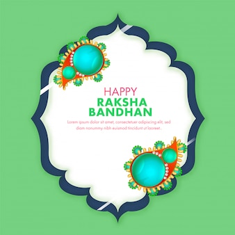 Green and white greeting card design decorated with pearl rakhis and happy raksha bandhan text.