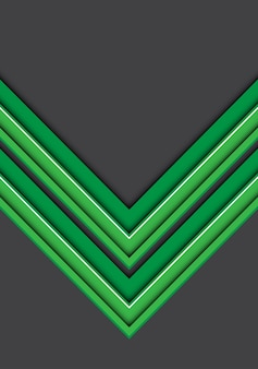 Green white line arrow 3D on gray background.