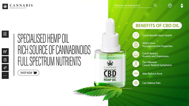 Green and white web banner with bottle of medical cbd oil and hemp leaf.