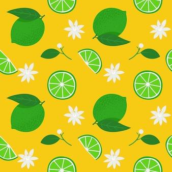 黄色の背景に白い花のイラストのシームレスなパターンと緑の全体のライムとスライス