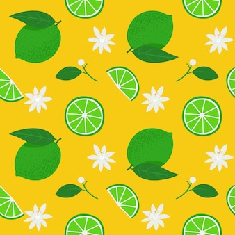 Green whole limes and slices with white flowers illustration seamless pattern on yellow background