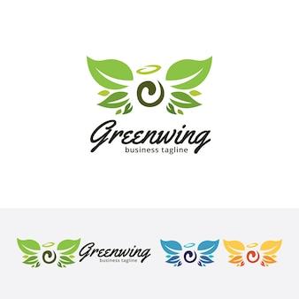Green wings vector logo template