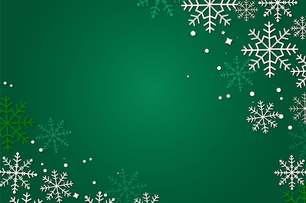 Green winter background in paper style