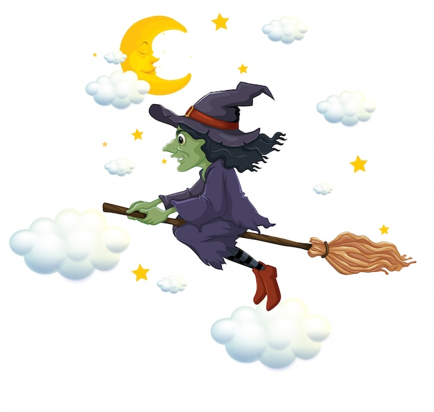 Green witch on flying broom at night