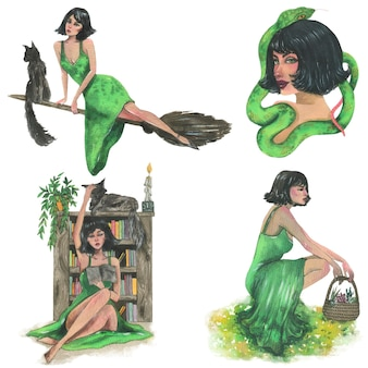 Green witch, watercolor illustration. vector isolated elements.
