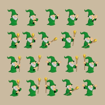 Green wizard character set