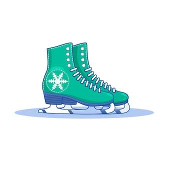 緑色の女性の姿、アイススケート
