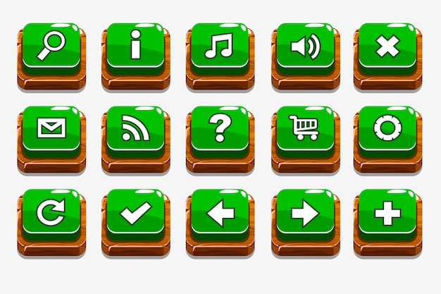 Green wood buttons with different menu elements