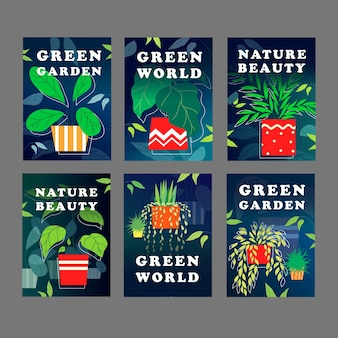 Green world card design set. houseplants, home plants in pots vector illustration with text samples