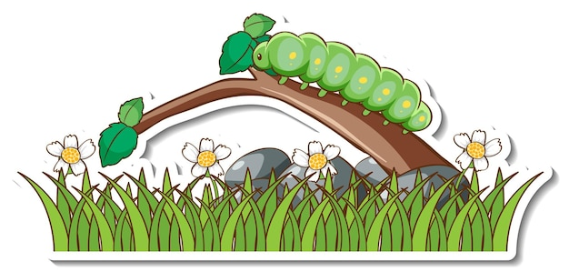 Green worm on a branch with grass field sticker