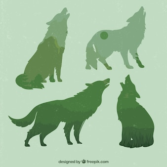 Green woves silhouettes