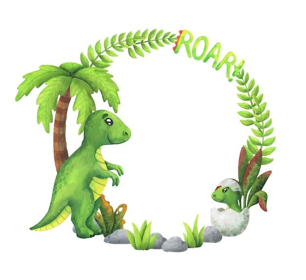 Зеленый венок с тиранозавром и детенышем динозавра в яйце. круглая рамка с мультяшными рептилиями