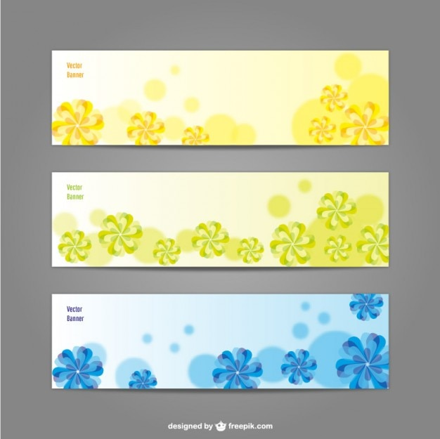 Green, yellow and blue floral banners