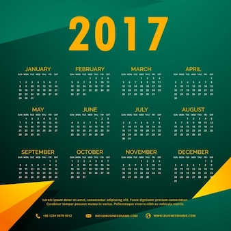 Green and yellow calendar