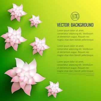 옅은 분홍색 그늘 일러스트와 함께 텍스트와 흰색 장식 꽃이있는 녹색 노란색
