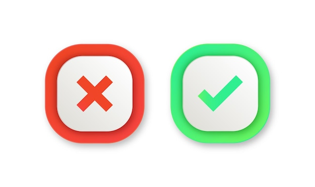 Green yes and red no checkmark buttons or approved and reject icons in square round corner