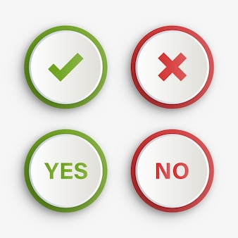 Green yes and red no checkmark buttons or approved and rejected icons symbols
