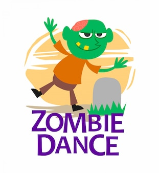 Green zombie boy dancing character illustration
