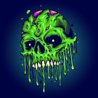 Green zombie skull isolated melt
