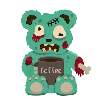 Green zombie teddy bear the limbs with a cup of black coffee vector clip art illustration
