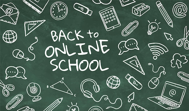 Зеленая доска обратно в онлайн-школу с нарисованными вручную элементами