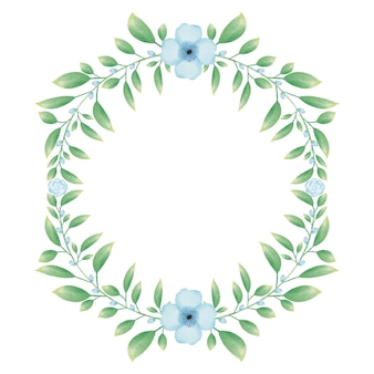 Greencircle frame with blue watercolor flower floral wreath