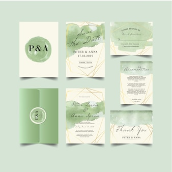 Greenery brushes splash wedding invitation