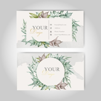 Greenery business card template set with elegant foliage and watercolor