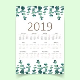 Greenery calendar 2019 Premium Vector