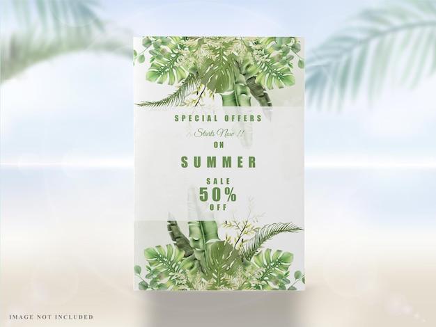 Экзотические листья зелени летом баннер
